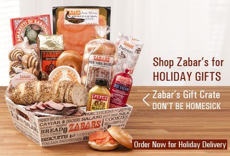 Zabar's Co. offers delicious baked goods, smoked fish, caviar, sweets, deli meals, cheese, coffee and tea for you to enjoy at home. From to-go breakfast items like fresh bagels and cinnamon buns to deli meats, salads and sides, Zabar's is your ultimate online restaurant that conveniently delivers right to your door!