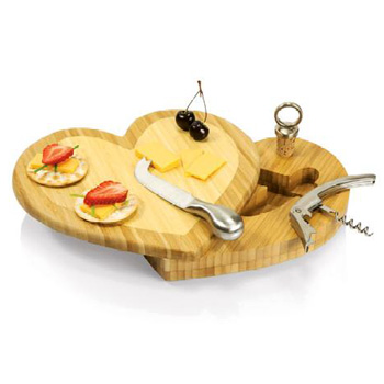 Picnic-time-heart-shaped-cutting-board-with-wine-cheese-tools